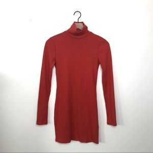 Urban Outfitters Burnt Orange Ribbed Knit Dress S